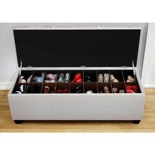 Sole Secret Loft Magnolia Fabric Shoe Storage Bench with Espresso Legs