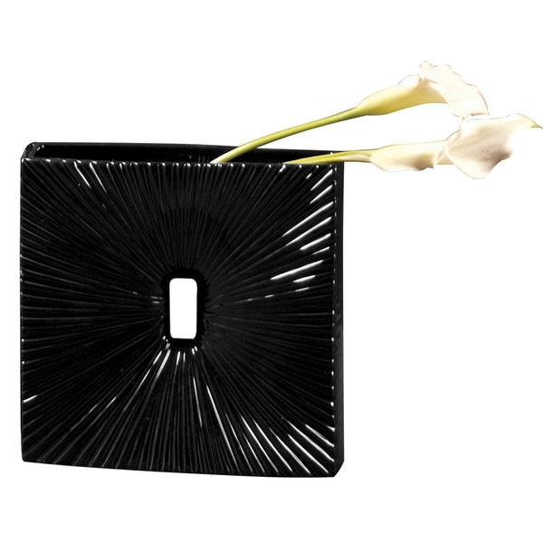 Square Glossy Black Ceramic Vase with Textured Accents