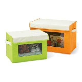 Seville Classics Canvas Storage Box Set with Window (2 Pack) -Green/Orange