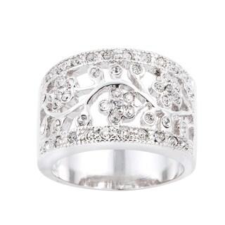 Simon Frank Silvertone Floral Design Cubic Zirconia Fashion Ring - Silver