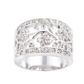 Silver Floral Design Cubic Zirconia Fashion Ring by Simon Frank Designs