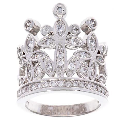 Silver 'Crown of Jewels' Cubic Zirconia Ring by Simon Frank Designs