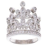Simon Frank Silvertone 'Crown of Jewels' Cubic Zirconia Ring - Silver