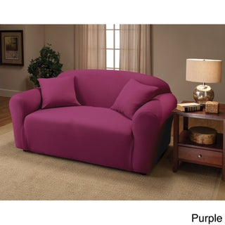 Sanctuary Stretch Jersey Loveseat Slipcover (Option: Purple)