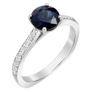 Sterling Silver 1/3ct TDW Diamond and Sapphire Engagement Ring (G-H, SI1-SI2)