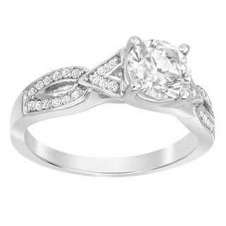 Sterling Silver 1ct TGW Moissanite and 1/3ct TDW White Diamond Engagement Ring (G-H, SI1-SI2)