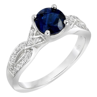 Sterling Silver 1/5ct TDW Diamond and Blue Sapphire Engagement Ring (G-H, SI1-SI2)