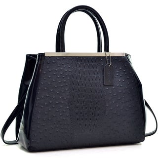 Dasein Ostrich and Croco Embossed Fusion Satchel
