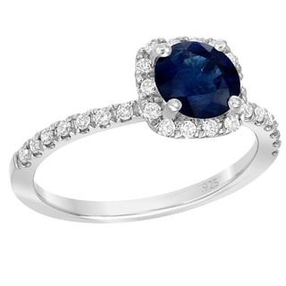 Sterling Silver 1 1/3ct TGW Blue Sapphire 1/3ct TDW White Diamond Engagement Ring (G-H, SI1-SI2)