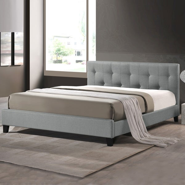 Baxton Studio Annette Linen Bed With Upholstered Headboard Gray Full