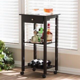 Baxton Studio Coppinger Dark Brown Modern Wine Cart