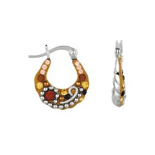 Silver Rhodium-plated Brass Corado Topaz Hoop Earrings