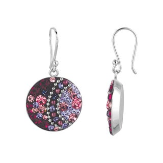 Silver Rhodium-plated Brass Pink Crystal Circle Dangle Earrings