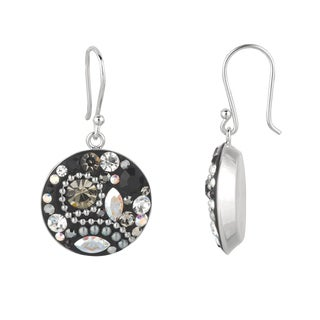 Silver Rhodium-plated Brass Crystal Circle Earrings