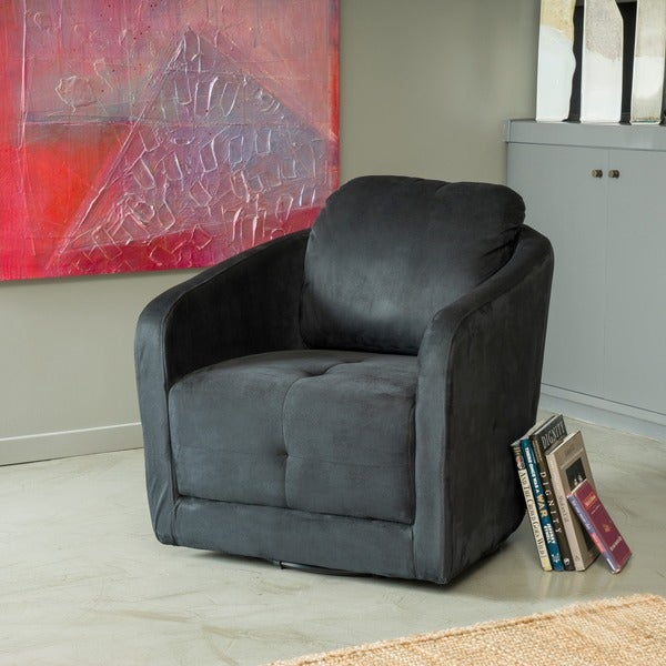 Shop christopher knight home concordia microfiber fabric swivel chair free shipping today for Microfiber accent chairs living room