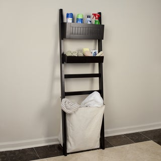 Leaning Bath Organizer with Canvas Hamper