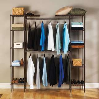 Satin Bronze Expandable Closet Organizer System