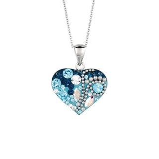 Silver Rhodium-plated Brass Blue Heart Pendant Necklace