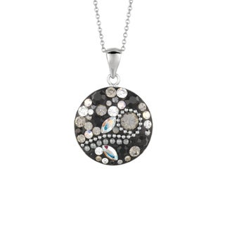 Silver Rhodium-plated Brass Black Crystal Round Pendant Necklace