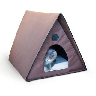 K&H Pet Products Non-Heated Outdoor Multiple Kitty A-Frame Chocolate Bed