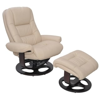 Jacque II Ivory Pedestal Recliner With Ottoman