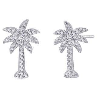 10k White Gold 1/3ct TDW Diamond Palm Tree Earrings (G-H, I2-I3)