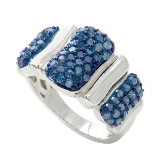 Sterling Silver 1/6ct TDW Blue Diamond Fashion Ring