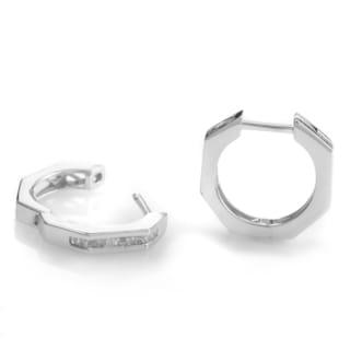 14k White Gold 1/5ct TDW Diamond Octagon Geometric Hoop Earrings (H-I, SI1-SI2)