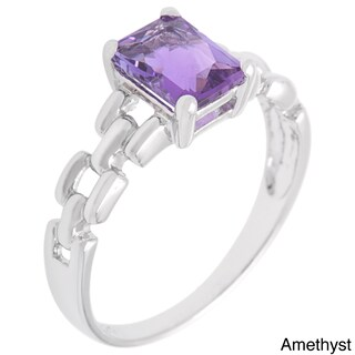 Oravo Sterling Silver Radiant Emerald-cut Gemstone Rhodium Finished Ring (More options available)