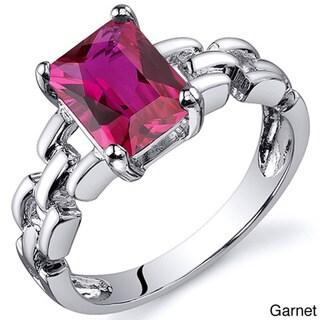 Oravo Sterling Silver Radiant Emerald-cut Gemstone Rhodium Finished Ring