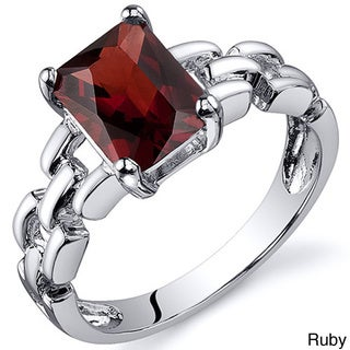 Oravo Sterling Silver Radiant Emerald-cut Gemstone Rhodium Finished Ring