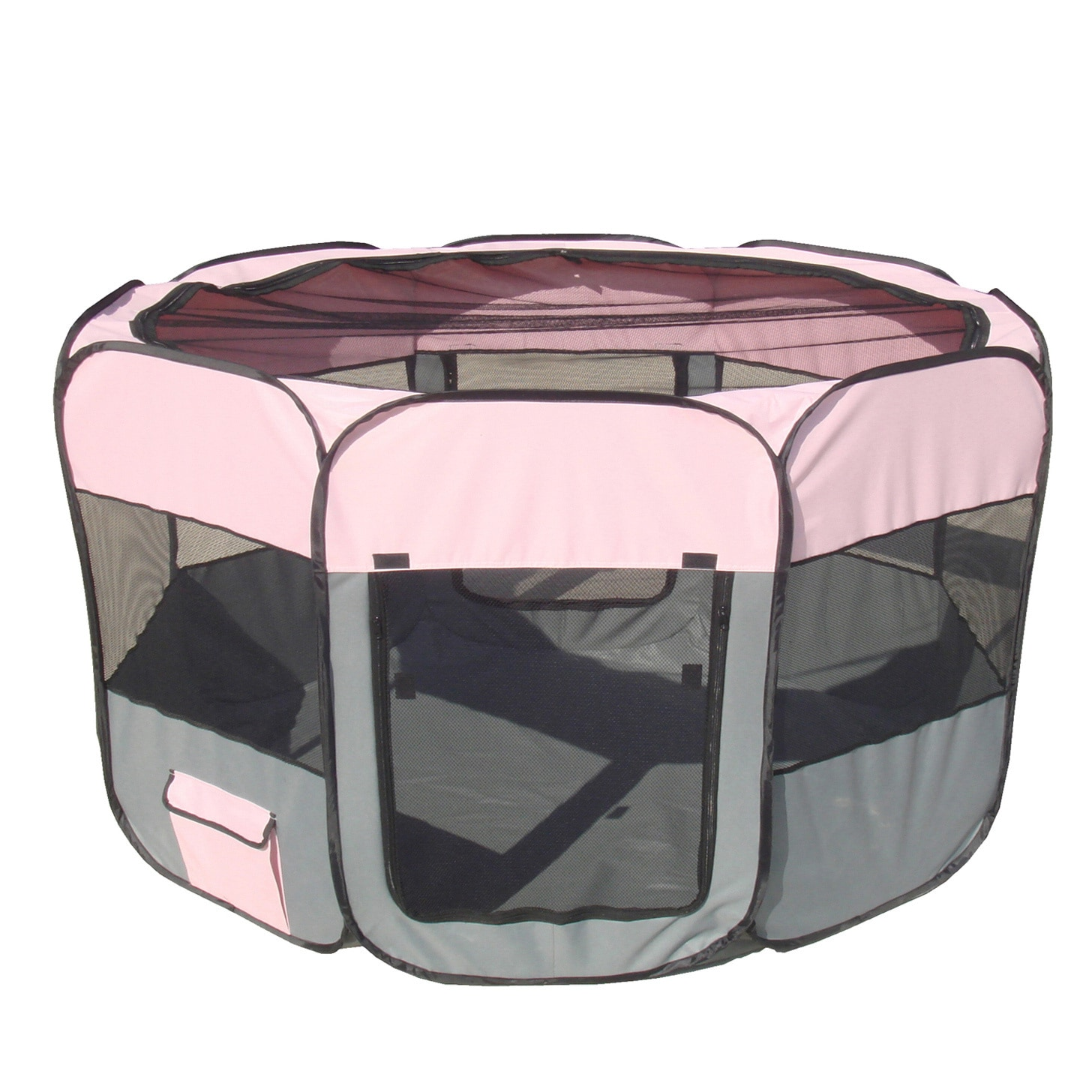 Petlife Collapsible Travel Pet Play Pen (Pink/Grey - Large)
