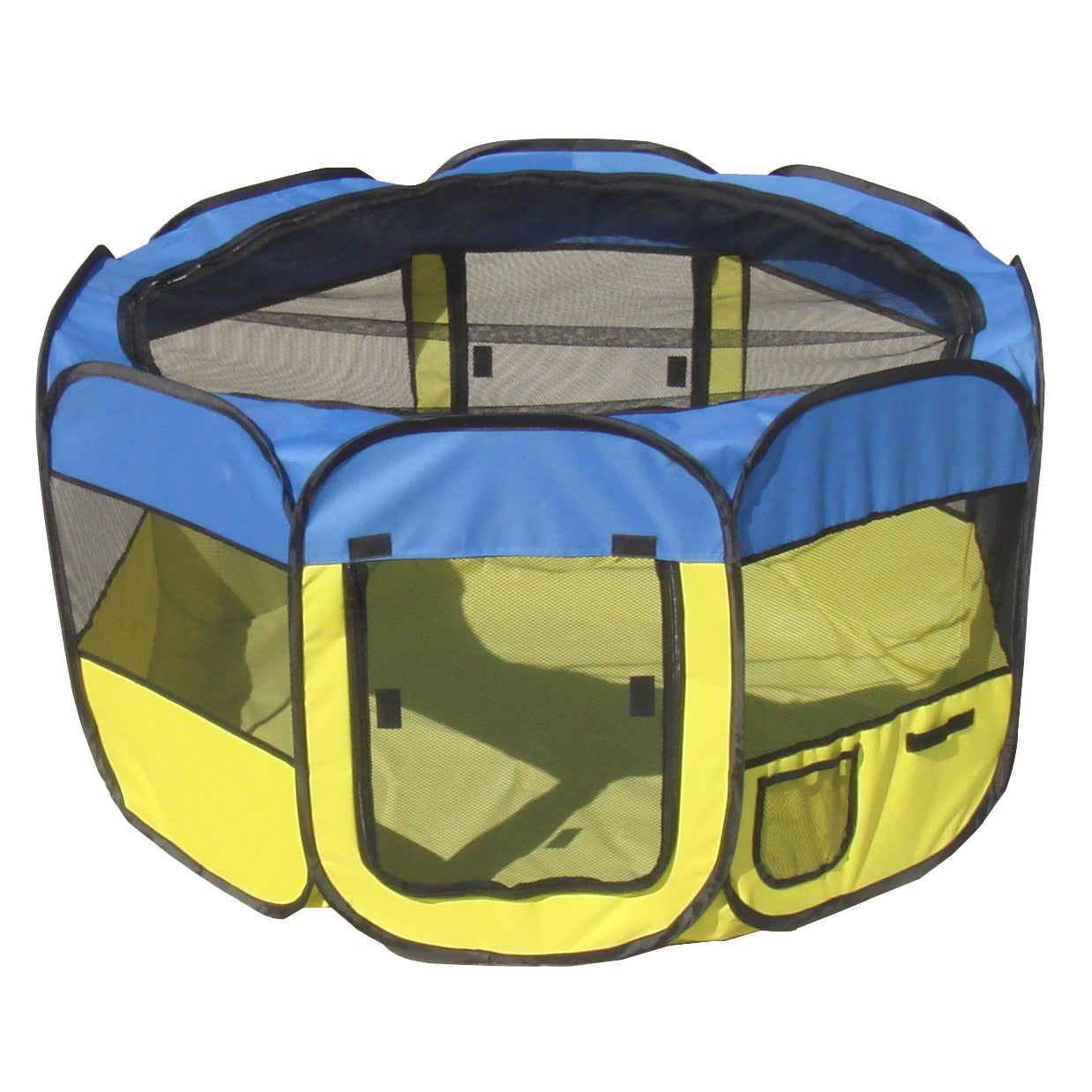 Petlife Collapsible Travel Pet Play Pen (Blue/Yellow - Me...