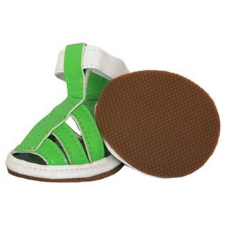 Pet Life Green PVC Waterproof Dog Sandals Shoes (Set of 4)