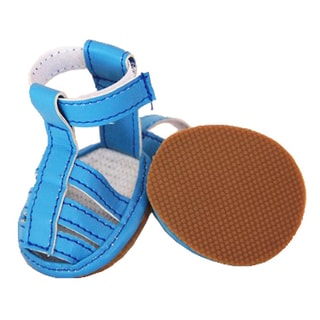 Pet Life Blue PVC Waterproof Pet Sandals (Set of 4)