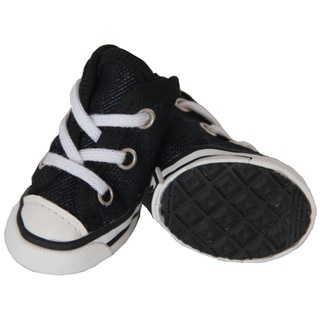 Pet Life Black Extreme Skater Canvas Pet Sneakers (Set of 4)