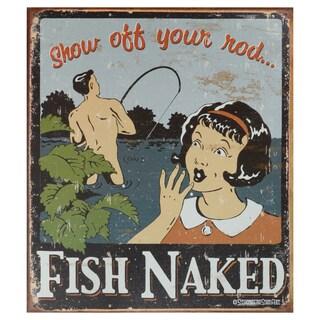 Vintage Metal Art 'Fish Naked' Decorative Tin Sign
