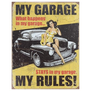 Vintage Metal Art 'My Garage My Rules' Decorative Tin Sign