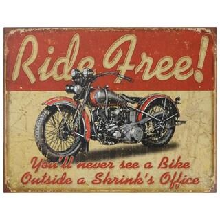 Vintage Metal Art 'Ride Free' Decorative Tin Sign