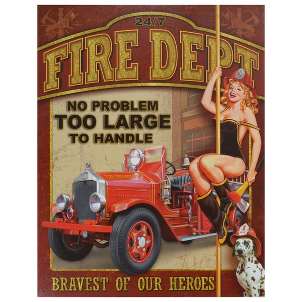 Vintage Metal Art 'Fire Department' Decorative Tin Sign