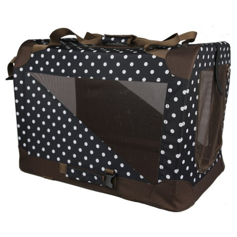 Pet Life 360-degree Vista View Polka Dot Soft Side Pet Carrier Crate