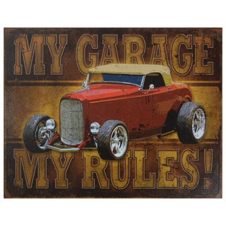 Vintage Metal Art 'My Garage My Rules' Decorative Tin Sign