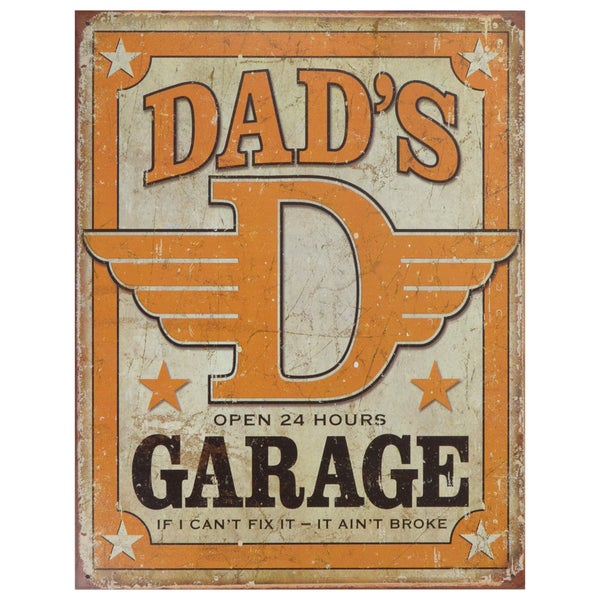 Vintage Metal Art 'Dad's Garage' Decorative Tin Sign