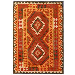 Herat Oriental Afghan Hand-woven Tribal Kilim Red/ Tan Wool Rug (3'6 x 4'9)