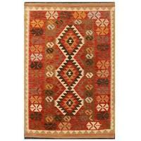 Herat Oriental Afghan Hand-woven Tribal Wool Kilim (3'5 x 5'3) - 3'5 x 5'3