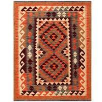 Handmade Herat Oriental Afghan Tribal Wool Kilim (Afghanistan) - 3'5 x 4'6