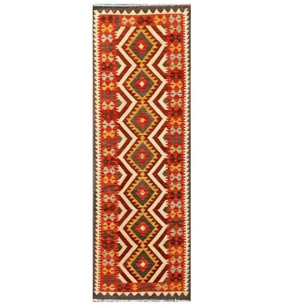 Herat Oriental Afghan Hand-woven Tribal Kilim Brown/ Red Wool Rug (2'7 x 8')