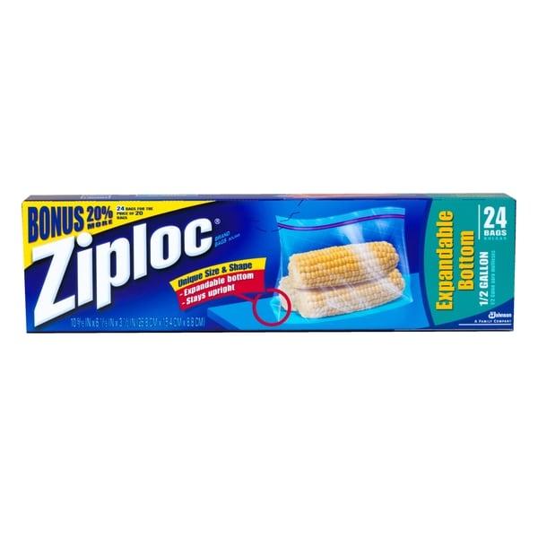 Ziploc Ez Zipper Storage Bags Half Gallon 12 Pack