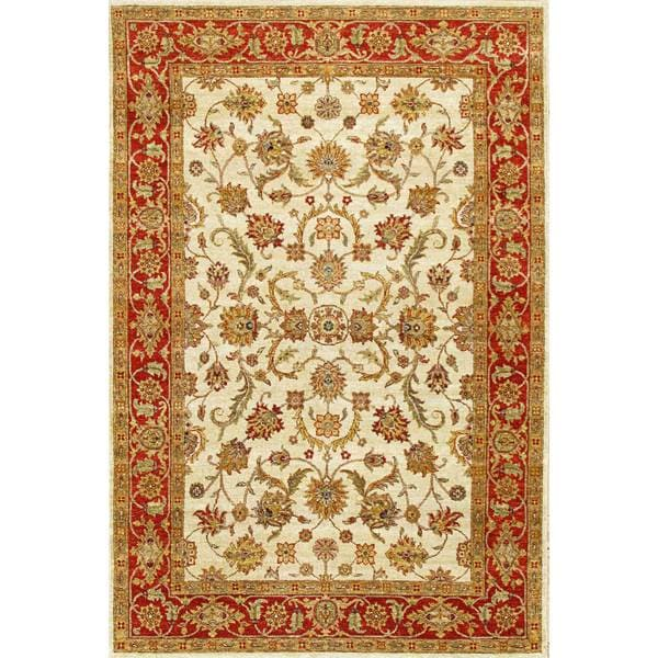 Hand Knotted Ziegler Beige Rust Vegetable Dyes Wool Rug - 6' x 9'