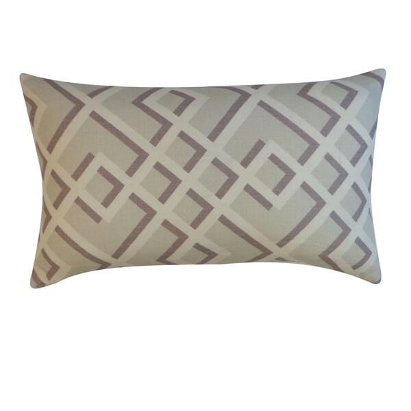 "Handmade Flexi Gray Geometric Pillow - 12"" x 20"""
